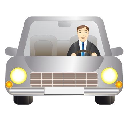 uroczy człowiek, kierowca w srebrnym samochodzie na białym tle