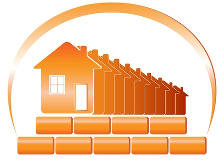 Red embleem van het bouwbedrijf en de zon met huizen, bakstenen