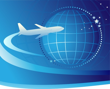 international shipping: Plane flying around the earth. International airlines Illustration