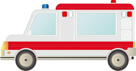 ems: gran coche ambulancia moderna aislado sobre fondo blanco