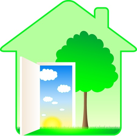 beautiful modern eco house with tree and summer landscape Vector