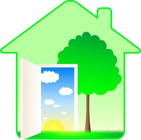 environnement entreprise: belle maison �cologique moderne avec des arbres et paysage d'�t� Illustration