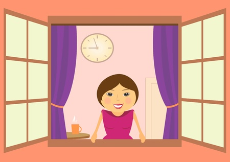 lady clock: the beautiful woman in window with clock and cup of cofee Illustration