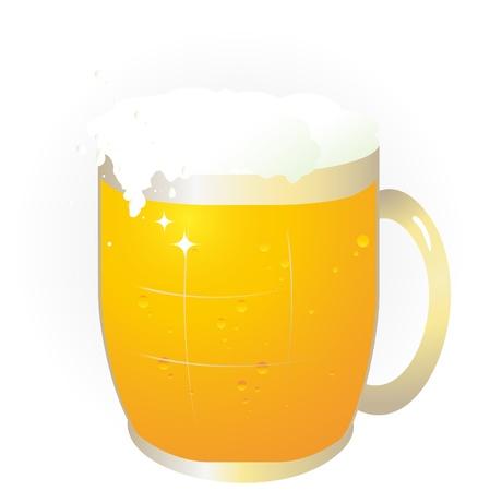 jarra de cerveza: Jarra de cerveza lindo en el fondo blanco