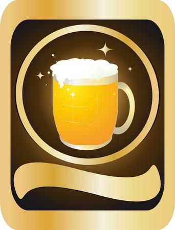 jarra de cerveza: Etiquete la botella con una jarra de cerveza espumosa Vectores
