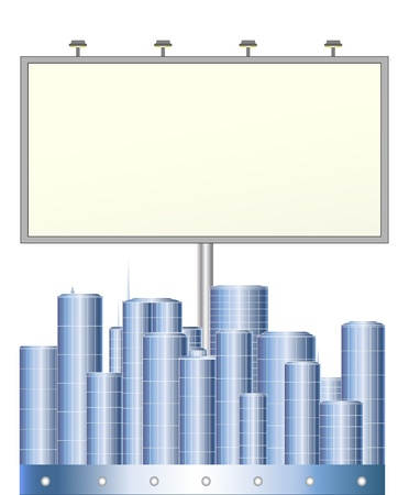 bill board: grey big board above the city with many houses Illustration
