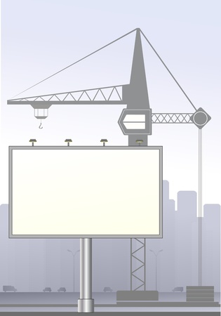 lame: big board and construction crane in town with cars Illustration