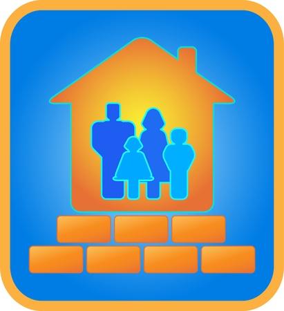 logotipo de construccion: casa de ladrillo para la familia