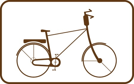 treadle: Silhouette brown bike on white background in frame