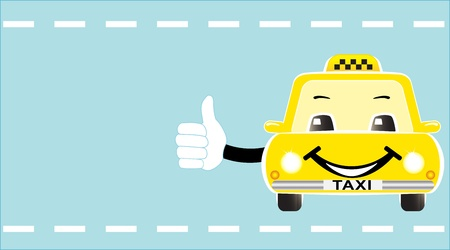 business visiting card with cheerful taxi showing thumb up Vector