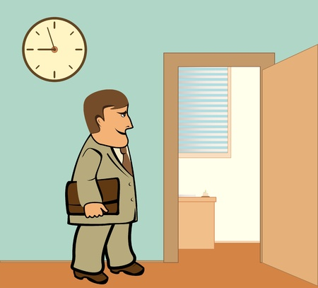 work place: serious businessman going in office to work place
