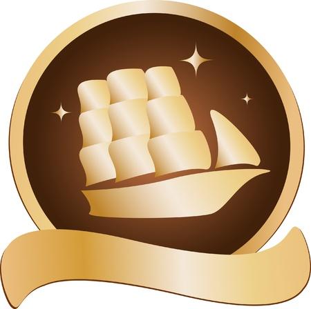 golden blazon with sailing ship Stock Vector - 12340634