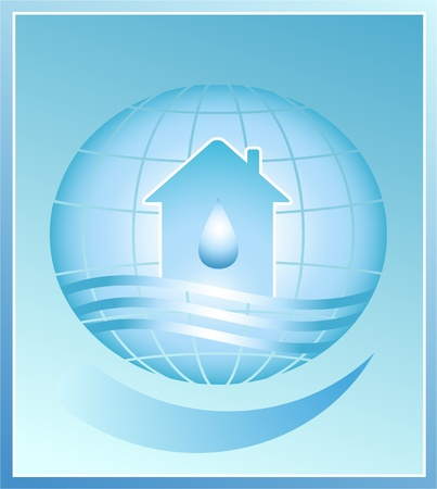 House and drop - a symbol of clean water on planet earth. Vector