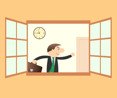 Successful businessman hurry to work and clock Vector