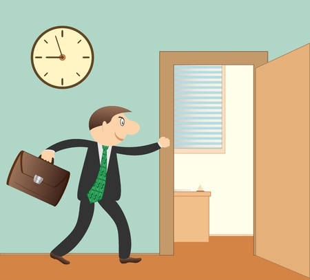 leaving: cartoon succesvol zakenman met portfolio in functie Stock Illustratie