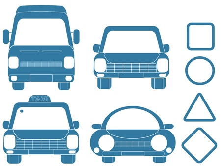 blue set of transport silhouettes with frames Vector