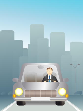 man in a car traveling on the road Vector
