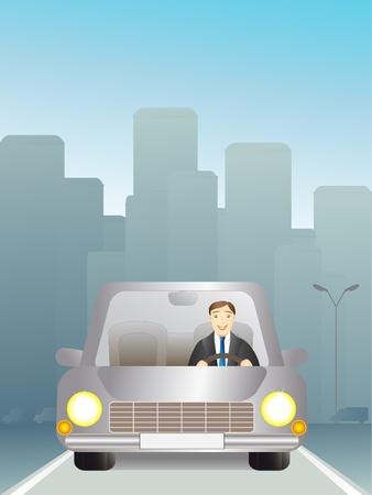 l'homme dans une voiture qui circulait sur la route