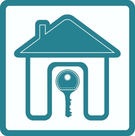 blauw bord van onroerend goed met silhouet huis deur en sleutel