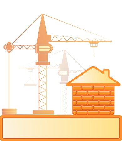 Two construction crans and new brick house Vector