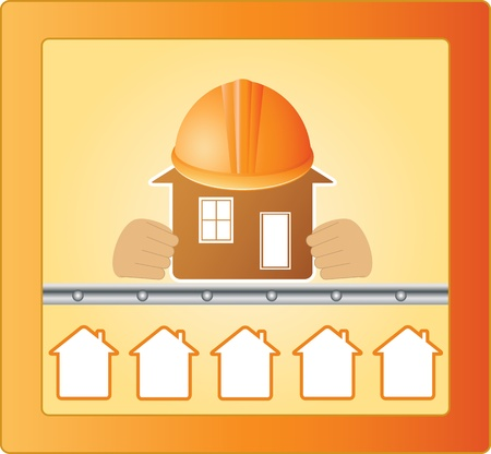 Sign with houses and main house in hands Vector