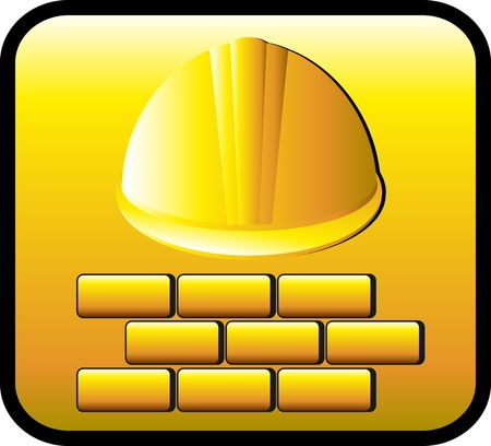 yellow construction button with helmet and many bricks Vector