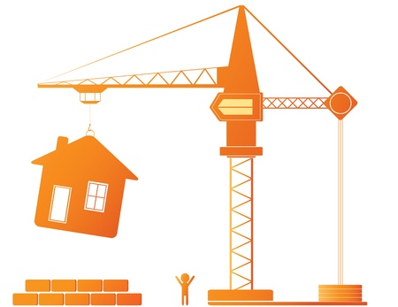 construction logo: Construction equipment - crane and new house