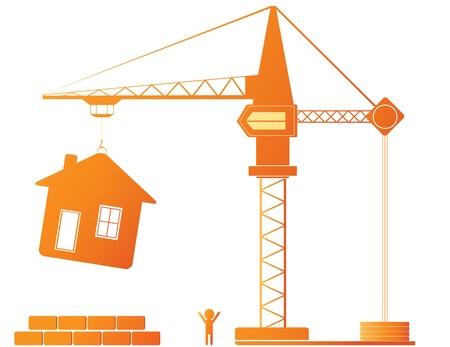 Los equipos de construcción - grúa y nueva casa