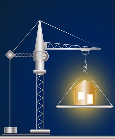 construction crane and golden house on blue background Vector