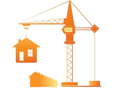 bouwkraan: bouwkraan en vele huizen