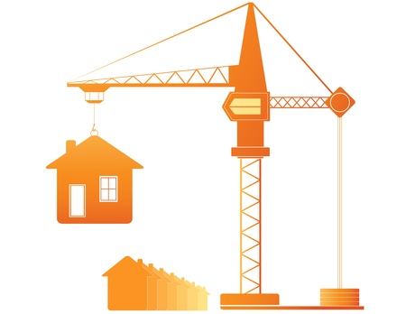 construction crew: construction crane and many houses Illustration