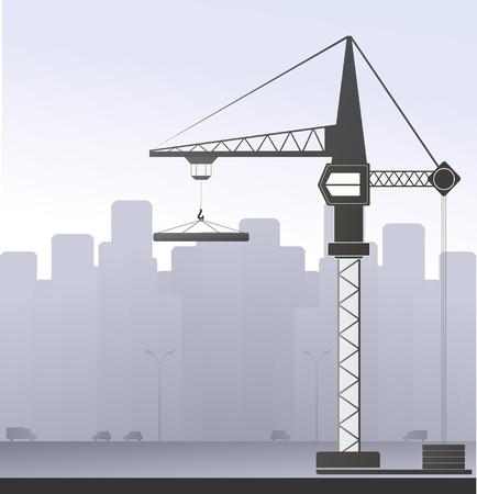 bouwkraan: bouwkraan op de grijze stedelijke achtergrond Stock Illustratie