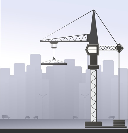 construction logo: construction crane on the grey urban background