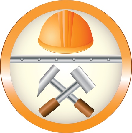 construction team: The red round symbol of construction equipment