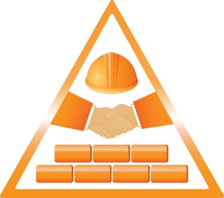 logotipo de construccion: Socios apretón de manos para la construcción y entrega de material Vectores