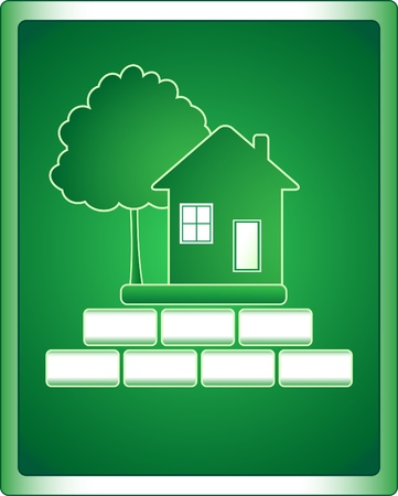 Green sign of building houses with tree and bricks Vector