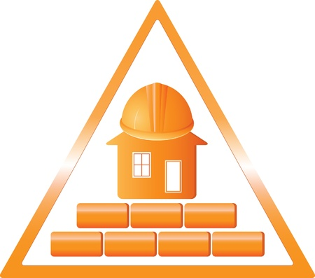 triangular sign with a house brick, and helmet Vector