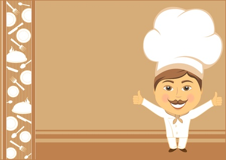 confectioner: card background with smile cook showing thumb up and utensil
