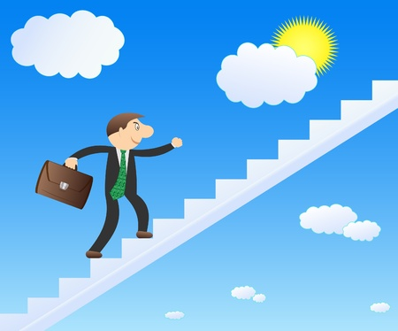 Successful businessman in the sky. Career and growth. Vector