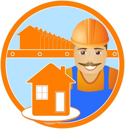 prefabricate: cheerful builder with house in hand in frame Illustration