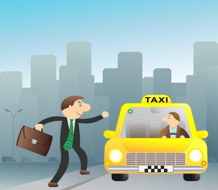 Cheerful businessman stops free taxi Vector
