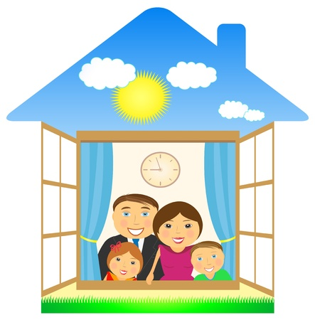 big cheerful family in private eco house Stock Vector - 12344441