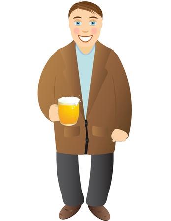 cheerful tipsy man standing with beer mug Vector