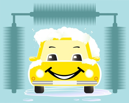 dirty car: yellow cheerful toy car washing on blue background