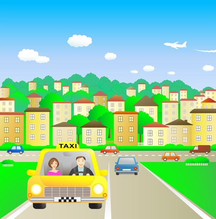 road worker: Summer city and taxi with beautiful passenger