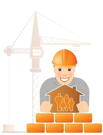 bouwkraan: Professionele ingenieur met bouwkraan en huis