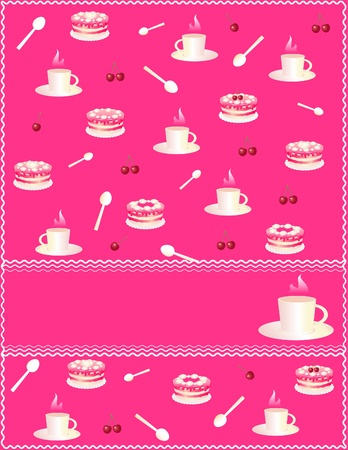 pink card with many cups of coffee and cakes Vector