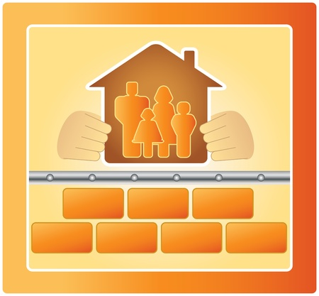 project of warm house, bricks and family Vector