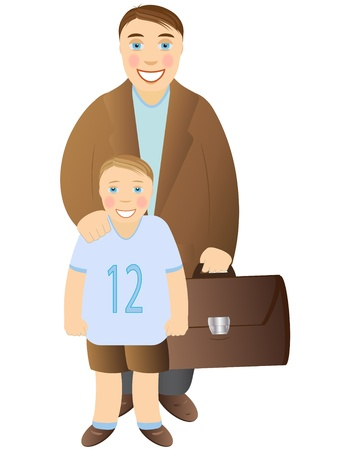 man and boy on a white background Vector