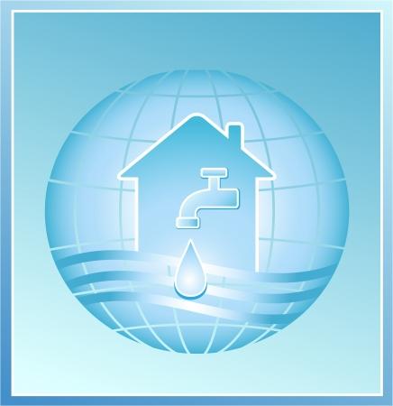 акцент: кран чистой капли воды на фоне планеты